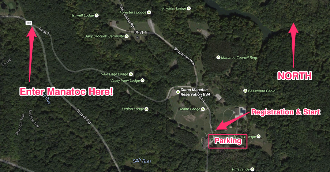 Camp Manatoc Parking and Start